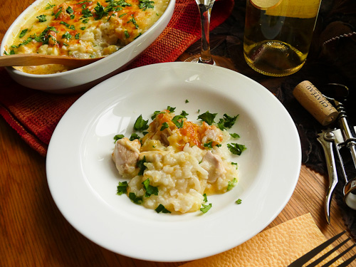 Пилешки филенца с ориз, моцарела и чедар