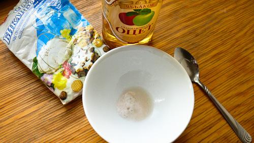 Сода бикарбонат с ябълков оцет