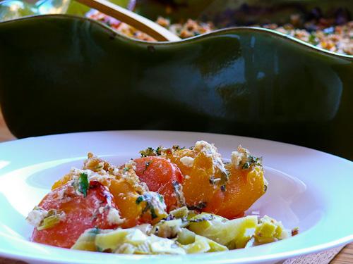Есенен огретен с праз, тиква и домати
