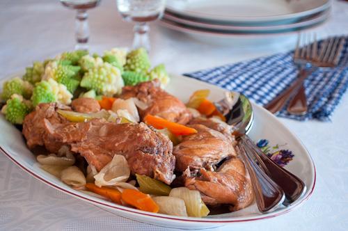 Задушено заешко месо със зеленчуци