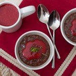 Шоколадова тапиока с бадеми и ягодов кулис с лайм