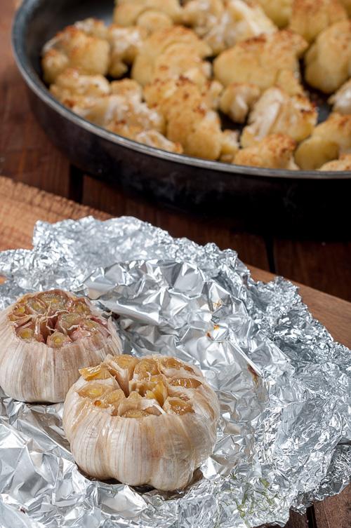 Изпечените чесън и карфиол