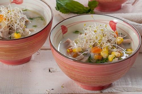 Супа със заешко месо, елда и царевица