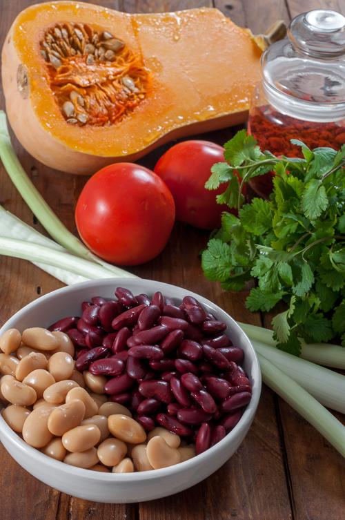 Продукти за бобена яхния с тиква и чорисо