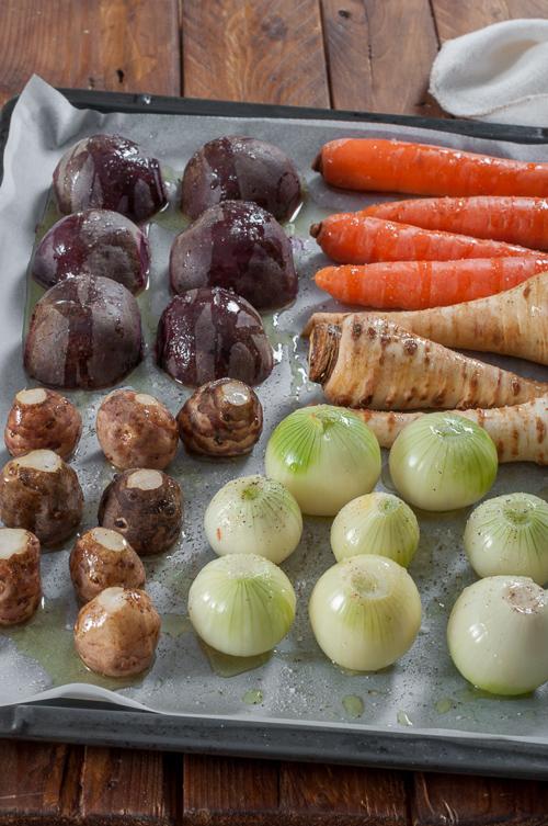 Подготвените за печене зеленчуци