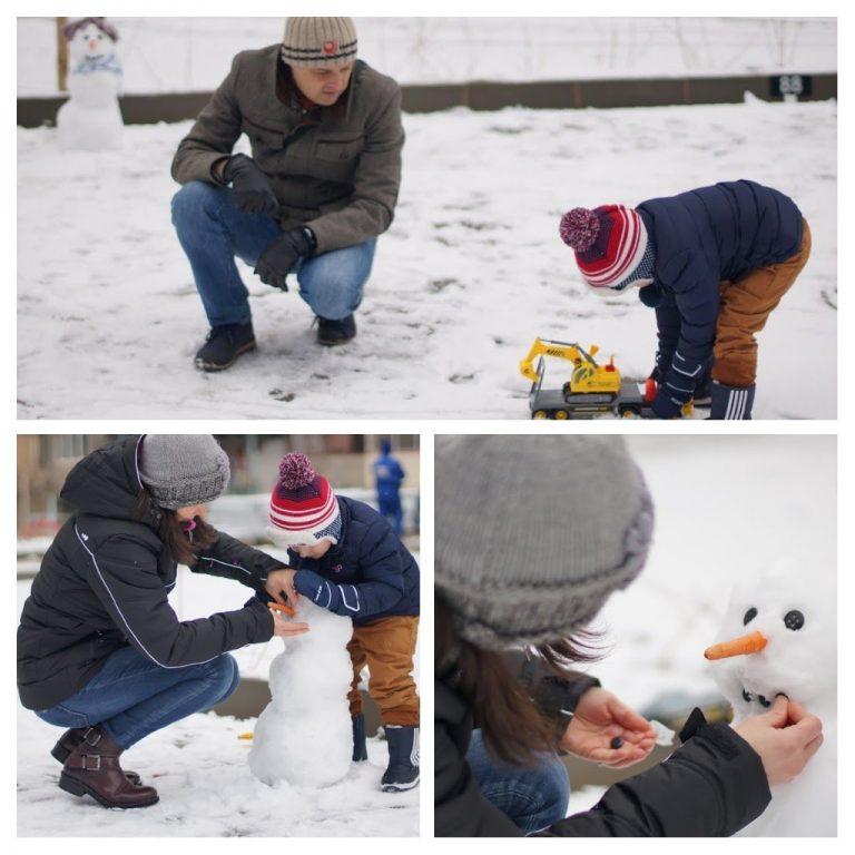 С Даниел правим снежен човек
