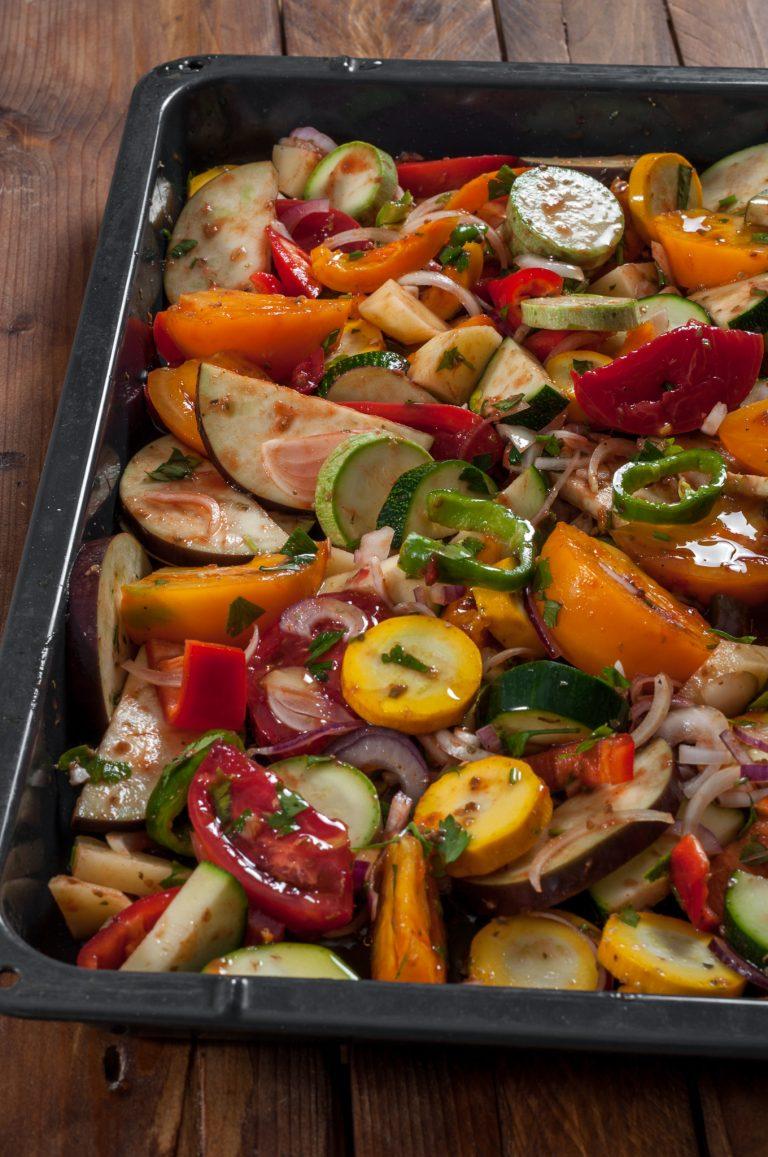 Подготвените зеленчуци за печене
