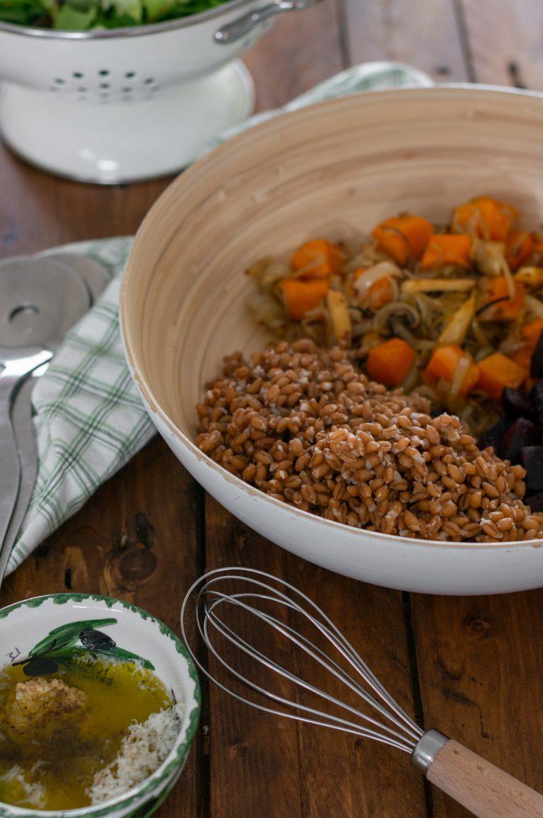 Салата от спелта и печени зеленчуци