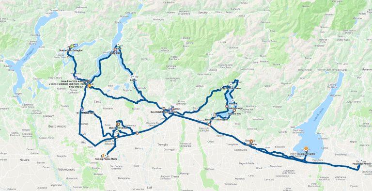 Карта с маршрута от пътуваните ни в северна Италия