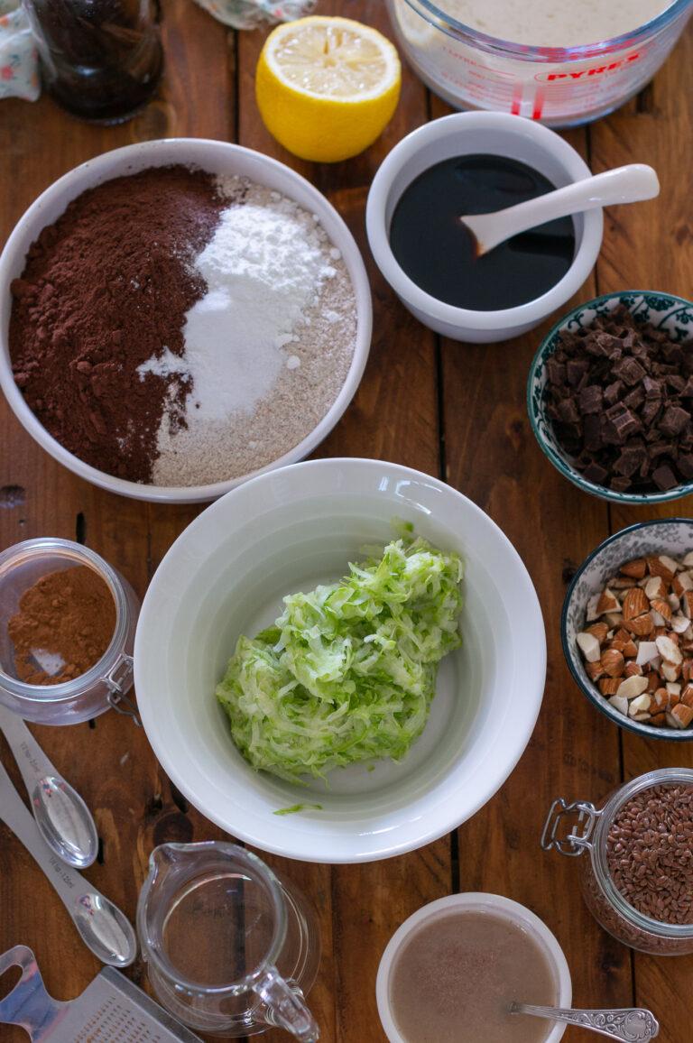 Продукти за веган шоколадови мъфини с тиквички