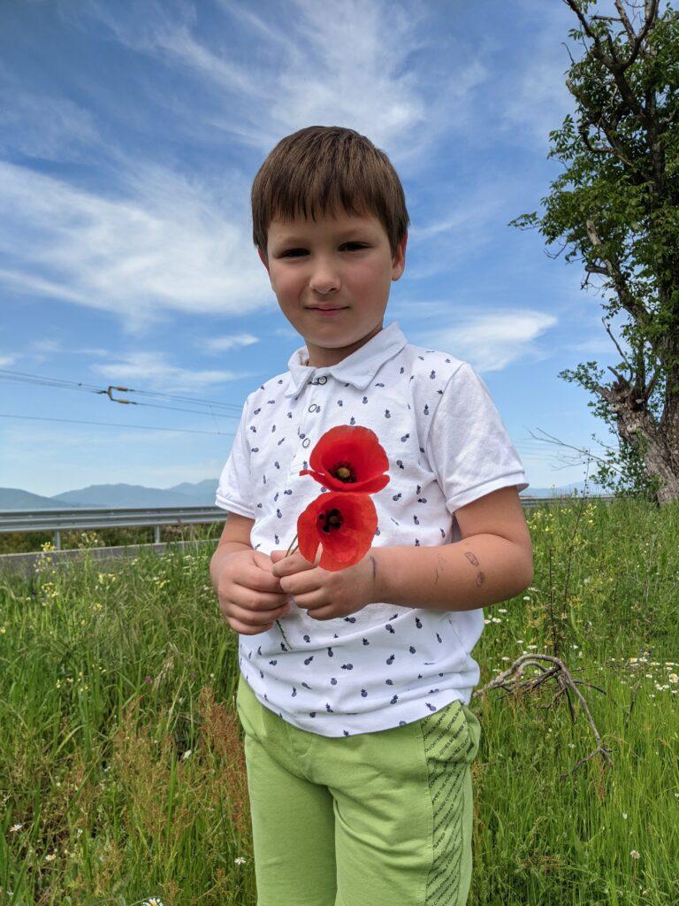 С Дани берем цветя край пътя